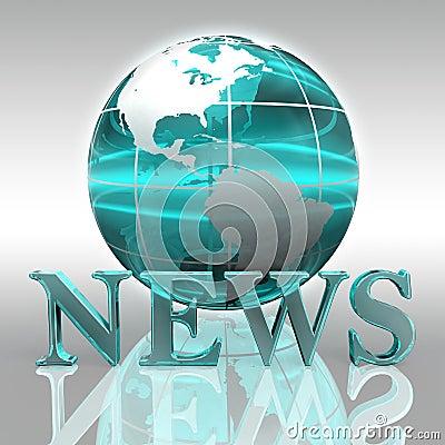 News blue word and earth globe