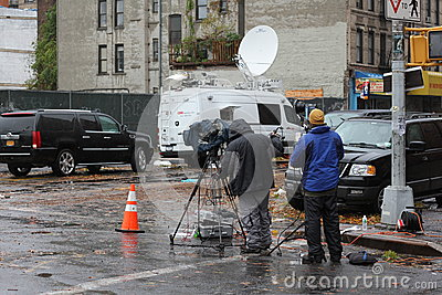 News Crew NYC after Hurricane Sandy Editorial Stock Photo