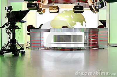 News desk in a television studio