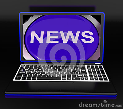 News On Laptop Showing Journalism Show