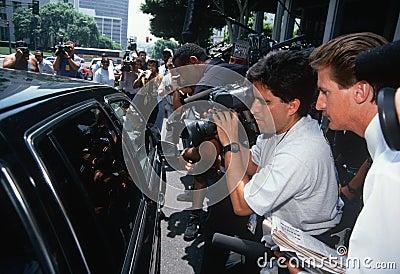 News Media near black limo, O.J. Simpson trial Editorial Photo
