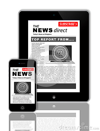 Free News On Tablet And Phone Royalty Free Stock Image - 30449756