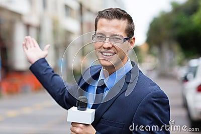 News reporter broadcasting