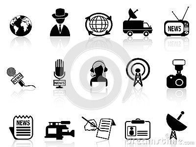 News reporter icons set