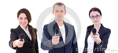 News reporters or journalists interviewing a person holding up t