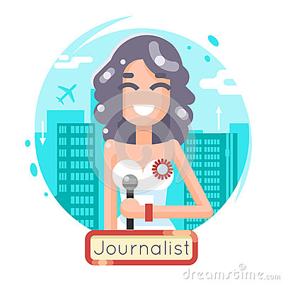 News Reporting Journalist Reporter Female Girl Character Mass Media Symbol on City Background Flat Design Template Vector Illustration