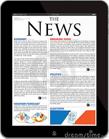 News site template on the new iPad Tablet Editorial Stock Photo