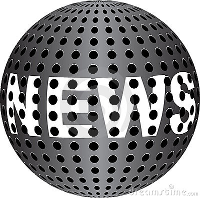 NEWS text on metallic ball
