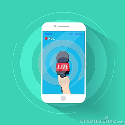 Free News TV Cell Phone And Live In Mobile Phone With Camera Frame. Rec And Record Cartoon. Hand And Mic Vector. Royalty Free Stock Image - 100800956