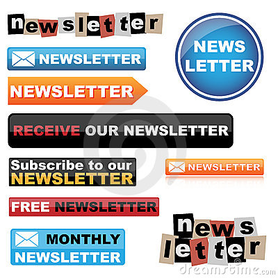 Free Newsletter Buttons Royalty Free Stock Photos - 20002778