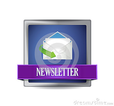 Newsletter glossy blue icon illustration