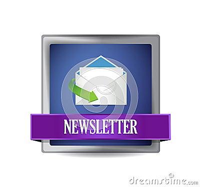 Newsletter glossy blue icon illustration