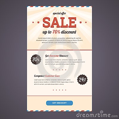 Newsletter template design with discount offer.