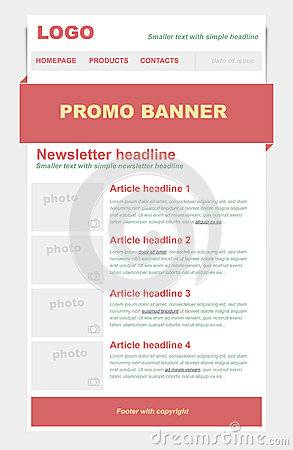 Newsletter template with red color.