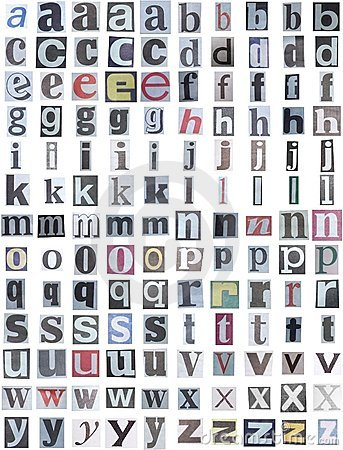 Newspaper alphabet lower
