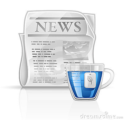 Newspaper with cup of tea