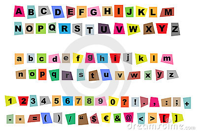 Newspaper Cutout Letters Royalty Free Stock Image - Image: 17603046