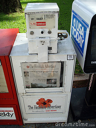 Newspaper dispenser for The Honolulu Advertiser Editorial Photo