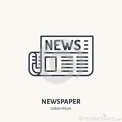 Free Newspaper Flat Line Icon. News Article Sign. Thin Linear Logo For Press Royalty Free Stock Images - 111465699