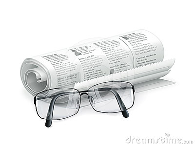 Newspaper and glasses