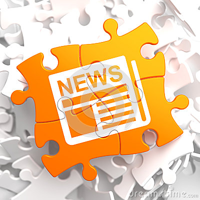 Newspaper Icon with News Word on Orange Puzzle.