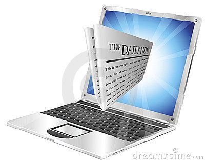 Newspaper laptop concept