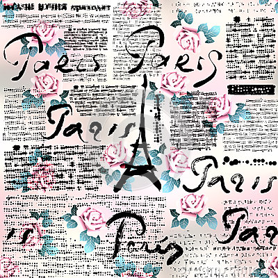 Free Newspaper Paris With Roses Stock Photography - 50073142