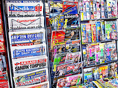Newspaper stand Editorial Stock Photo