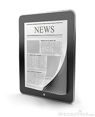 Newspaper on tablet pc. Mobile device 3D