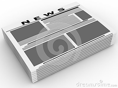Newspapers isolated on white. Stock Photo