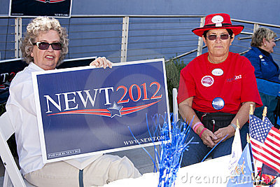 Newt Gingrich Supporters at GOP Debate Editorial Stock Photo