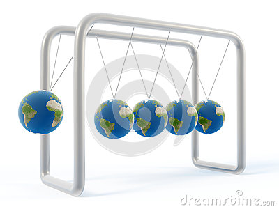 Newton earth cradle