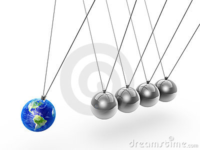Newton s cradle and earth