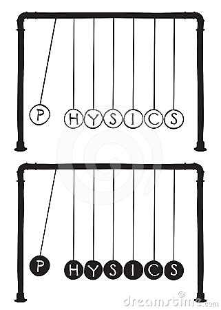 Newton s cradle with letters on balls