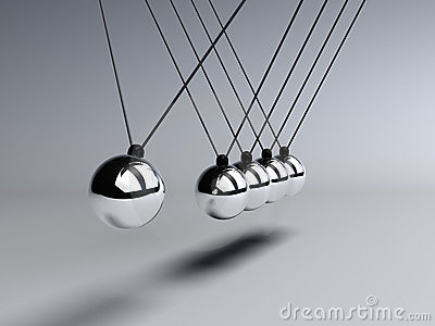 Newtons Cradle close up