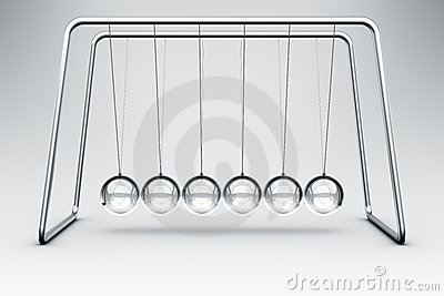 Newtons cradle made in glass