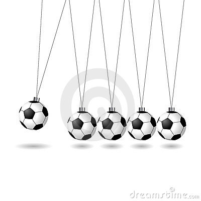 Newtons cradle with soccer balls