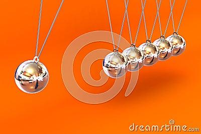 Newtonswieg op een Oranje Achtergrond