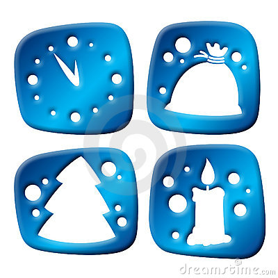 Newyear three-dimensional icons