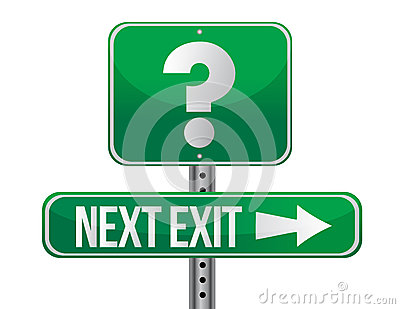 Next exit with question mark illustration design