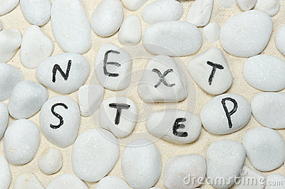 Next step words on pebbles