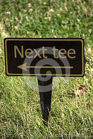 Next tee sign on golf course