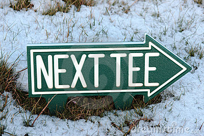 Next tee sign in winter snow