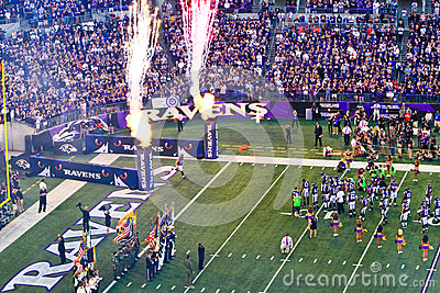 NFL Football Flags, Flames and Fireworks! Editorial Photography