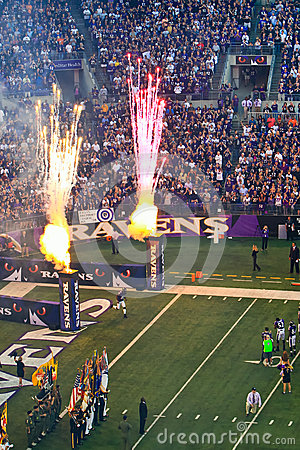 NFL Football Pre Game Fireworks! Editorial Stock Image