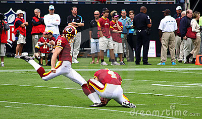 NFL - Redskins Kicker Suisham Warms Up Editorial Photography