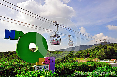 Ngong Ping cable car in Hong Kong Editorial Photo