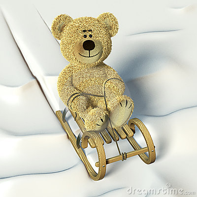 Free Nhi Bear Coasting On The Sledge. Stock Photo - 12036170