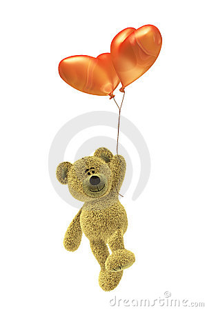 Nhi Bear with heartshaped balloon flying