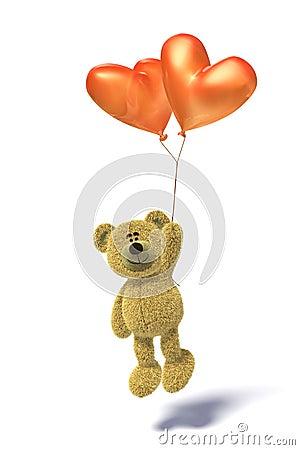 Nhi Bear with heartshaped balloon flying